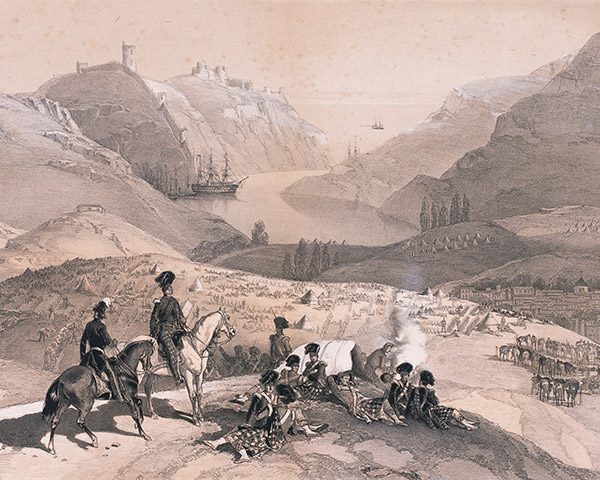 'Town and harbour of Balaklava from the camp of the 93rd Highlanders' by Lt Montagu O'Reilly, 13 Nov 1854