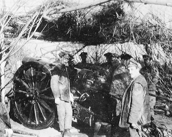 A six-inch howitzer of 127th Siege Battery, Royal Artillery, Salonika, 1917
