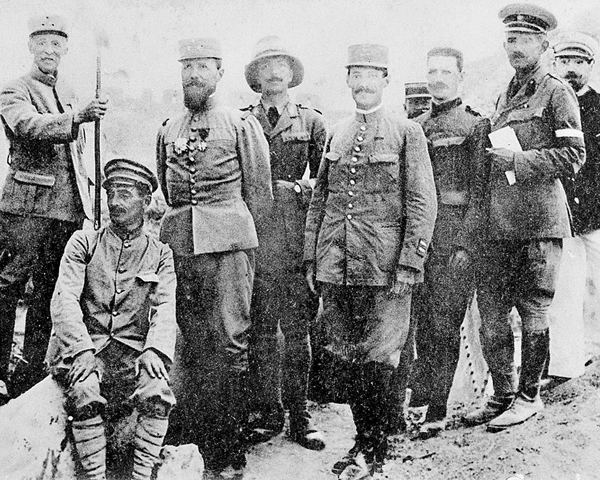 General Henri Gouraud (third left), commander of the French Corps in the Dardanelles, with his staff, 1915