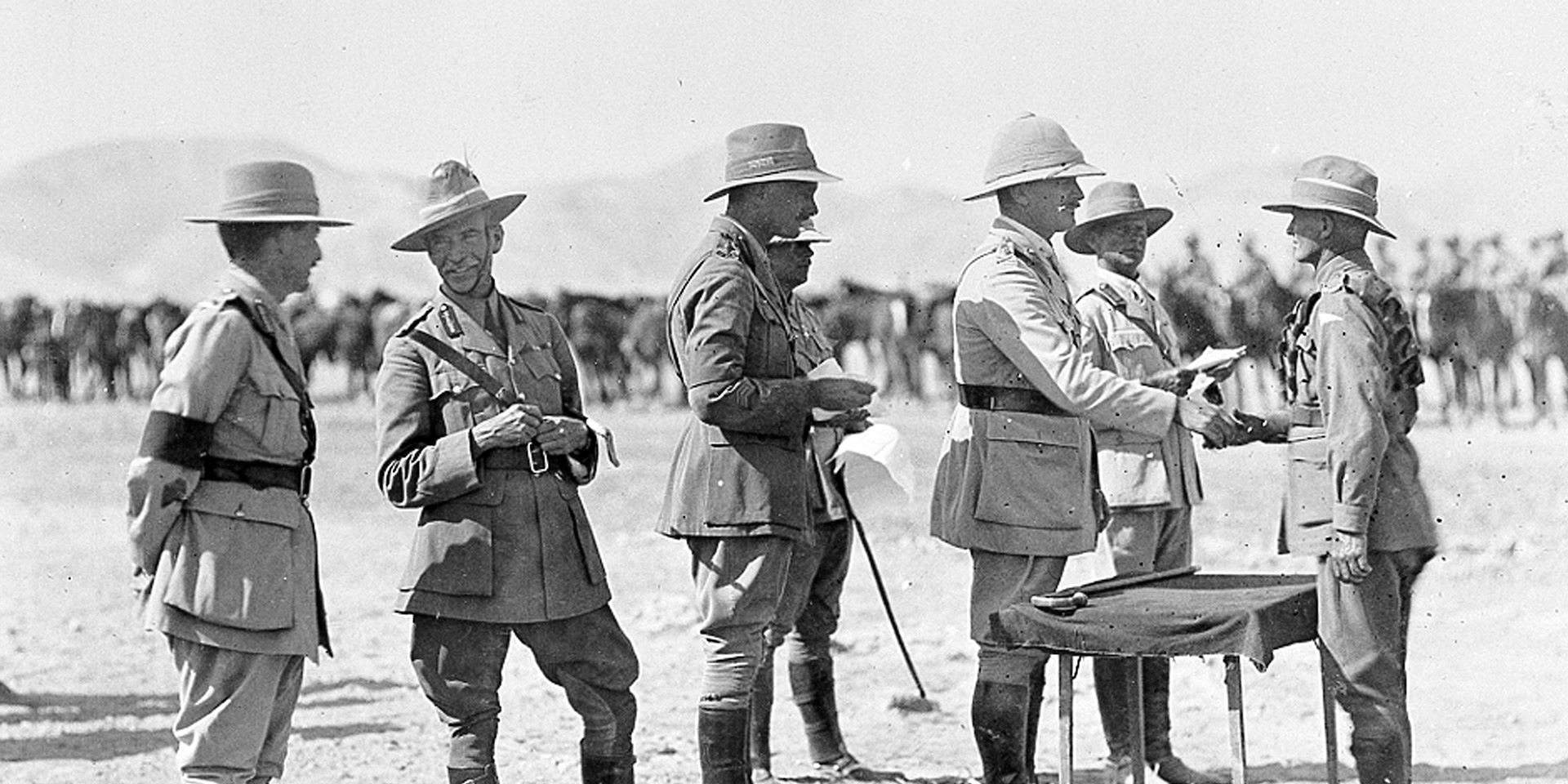 The presentation of medals to troops of ANZAC Mounted Division by General Sir Edmund Allenby, 1918