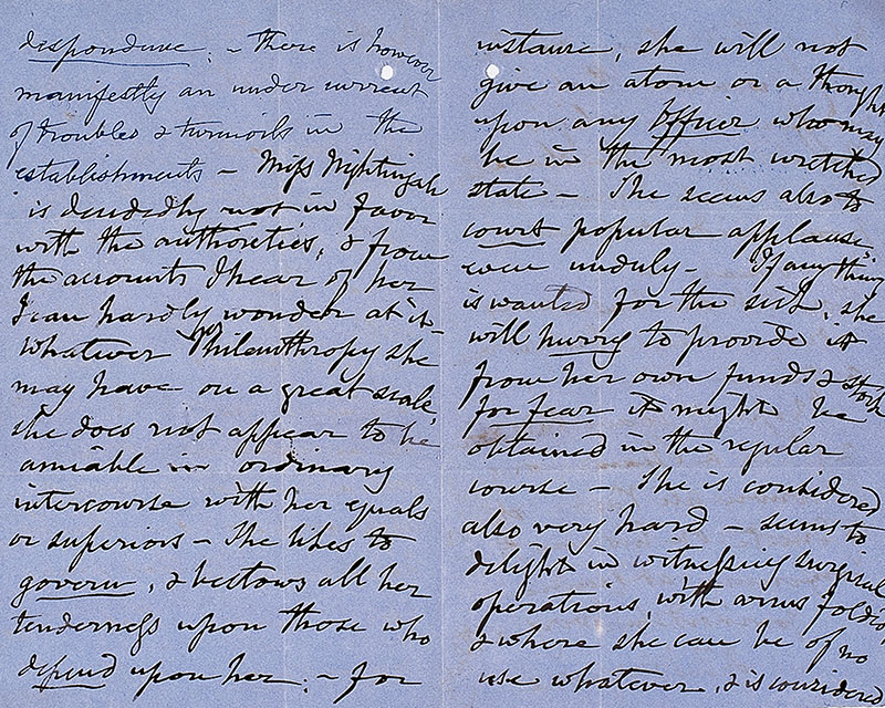 Letter of Lieutenant-General Sir John Burgoyne on Florence Nightingale, 27 March 1855