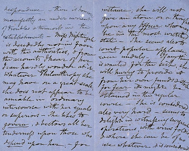 Letter of Lieutenant-General Sir John Burgoyne on Florence Nightingale, 27 March 1855