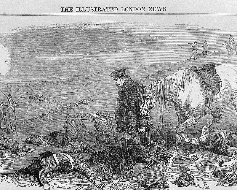 'Our artist on the battlefield of Inkerman', Joseph Crowe in the Crimea, published in The Illustrated London News 3 February 1855
