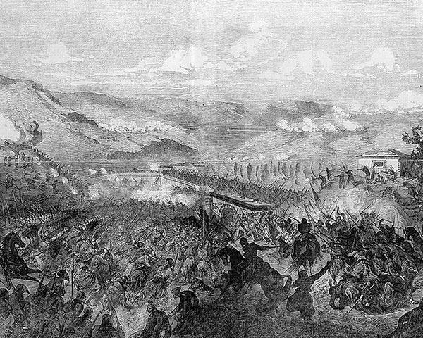 'The Battle of Tchernaya' by Gustav Doré, published in 'The Illustrated London News', 29 September 1855