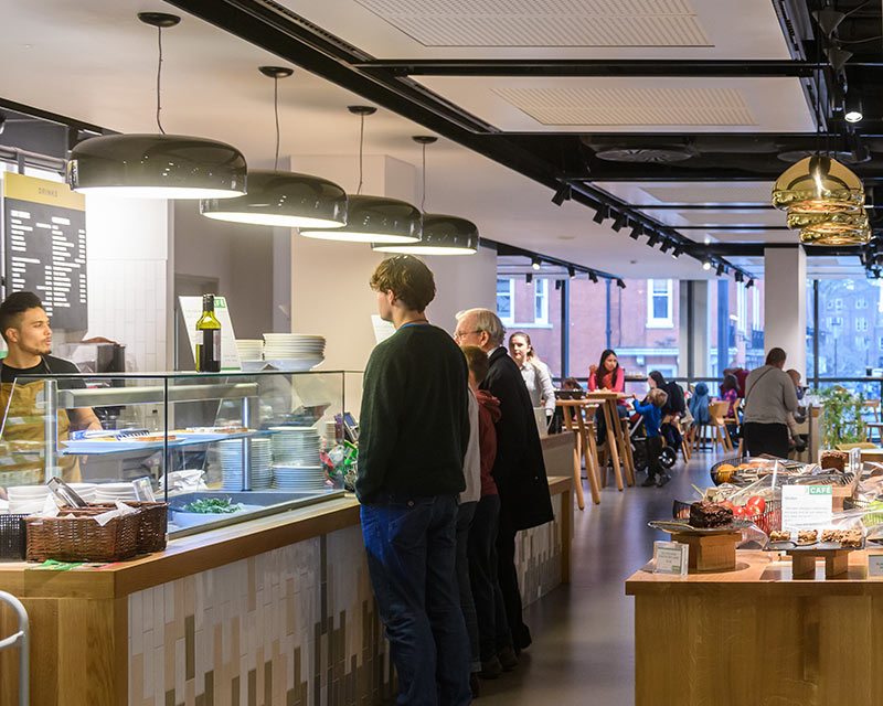 Visitors in cafe