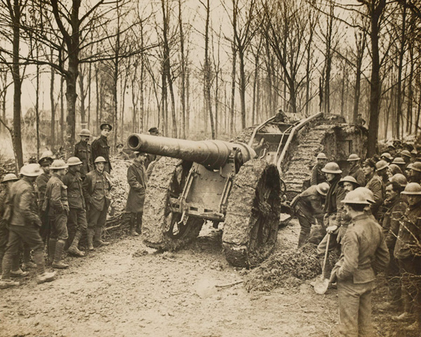A tank towing a captured German gun, Cambrai, 29 November 1917