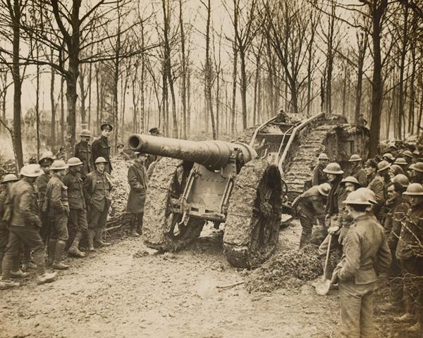 A tank towing a captured German gun, Cambrai, 29 November 1917