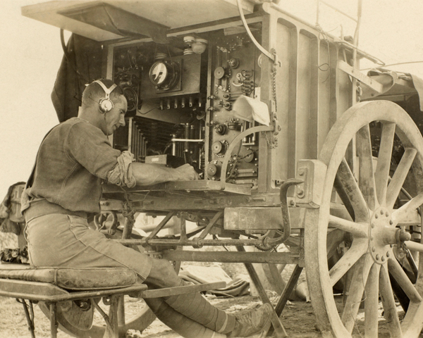 A British wireless station receiving the last message from Kut, January 1916