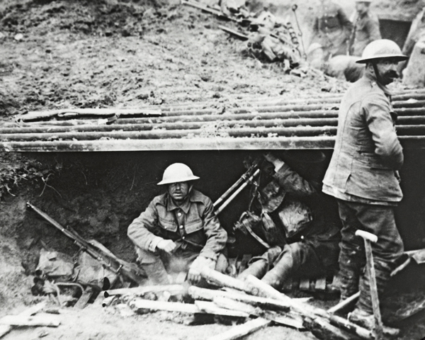 Soldiers rest in a captured German dugout at Feuchy, April 1917
