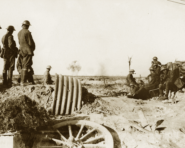 Watching shell-bursts on Pilckem Ridge during the Battle of Langemarck, 18 August 1917