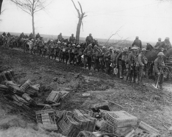 Working parties following up the advance along the Arras-Cambrai Road, April 1917