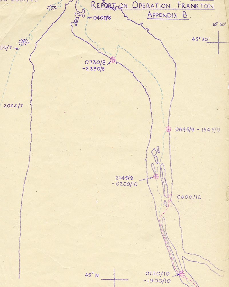 Operation Frankton report showing the route taken by cockles 'Catfish' and 'Crayfish', 1943