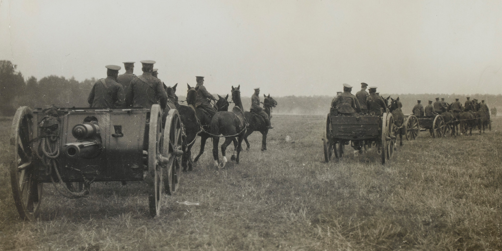 A Royal Field Artillery 18-pounder battery, Western Front, c1914