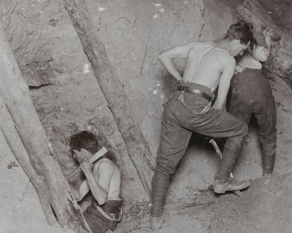Royal Engineers undertaking mining operations at Messines Ridge, June 1917