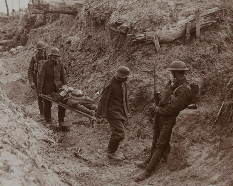 German prisoners carrying the wounded, Bourlon Wood, 1917