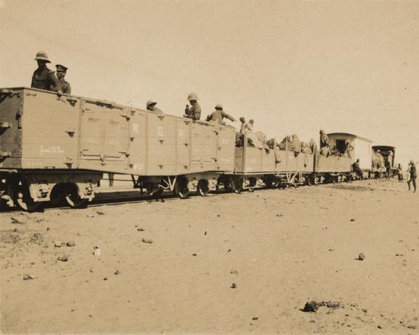 Senussi refugees going under escort to Alexandria, 1916