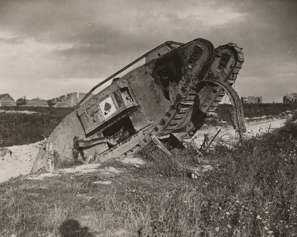 A knocked-out British tank near Bourlon Wood, November 1917