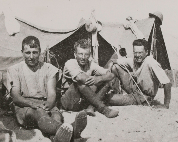 Members of 1/1st Buckinghamshire Yeomanry (Royal Bucks Hussars) at their desert camp, 1915