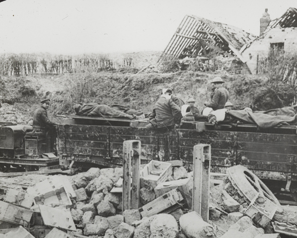 Wounded being moved by light railway near Feuchy, 29 April 1917