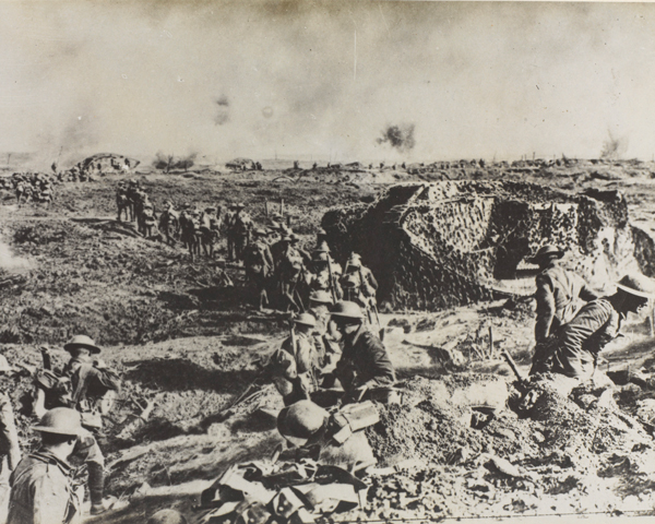 Infantry and tanks move up during the Battle of Polygon Wood, September 1917