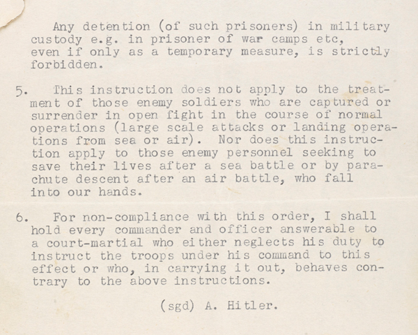 A translated copy of Hitler's 'Commando Order', 18 October 1942