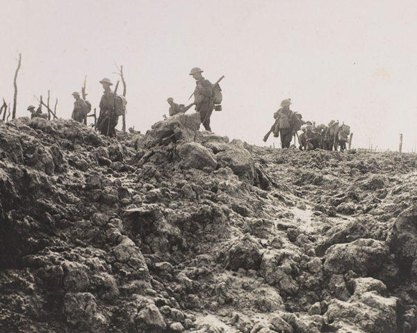 Soldiers advancing on Pilckem Ridge, 1917