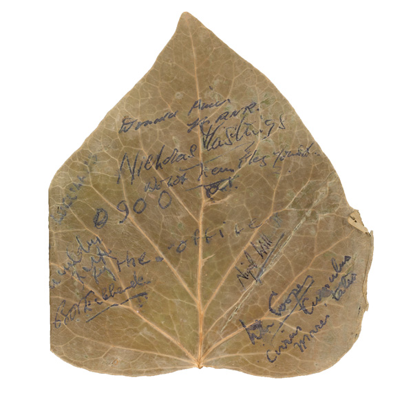Leaf signed by Nigel Clogstoun-Willmott and other members of the 'Party Inhuman' pilotage team, 1942
