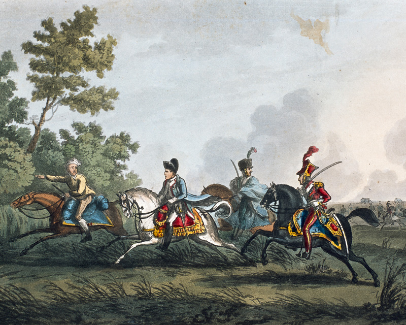 Napoleon fleeing the battlefield after his defeat at Waterloo, 1815