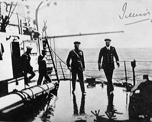 Kitchener on board HMS 'Iron Duke' at Scapa Flow, about one hour before he embarked on HMS 'Hampshire', 5 June 1916