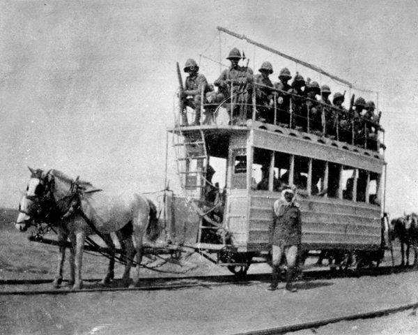 A horse drawn tram with troops on the way to relieve Kut, 1916