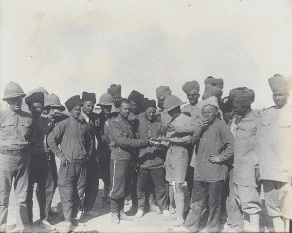 British, Indian and Russian troops at Kasr-i-Shirin in Persia, April 1917