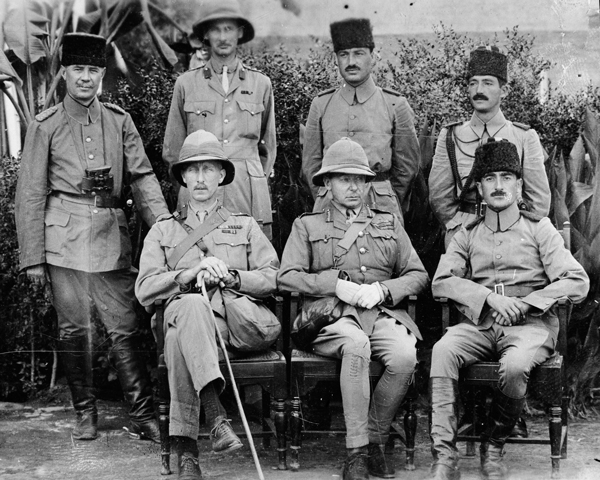 Major-General Townsend (middle front) after his capture at Kut, 1916
