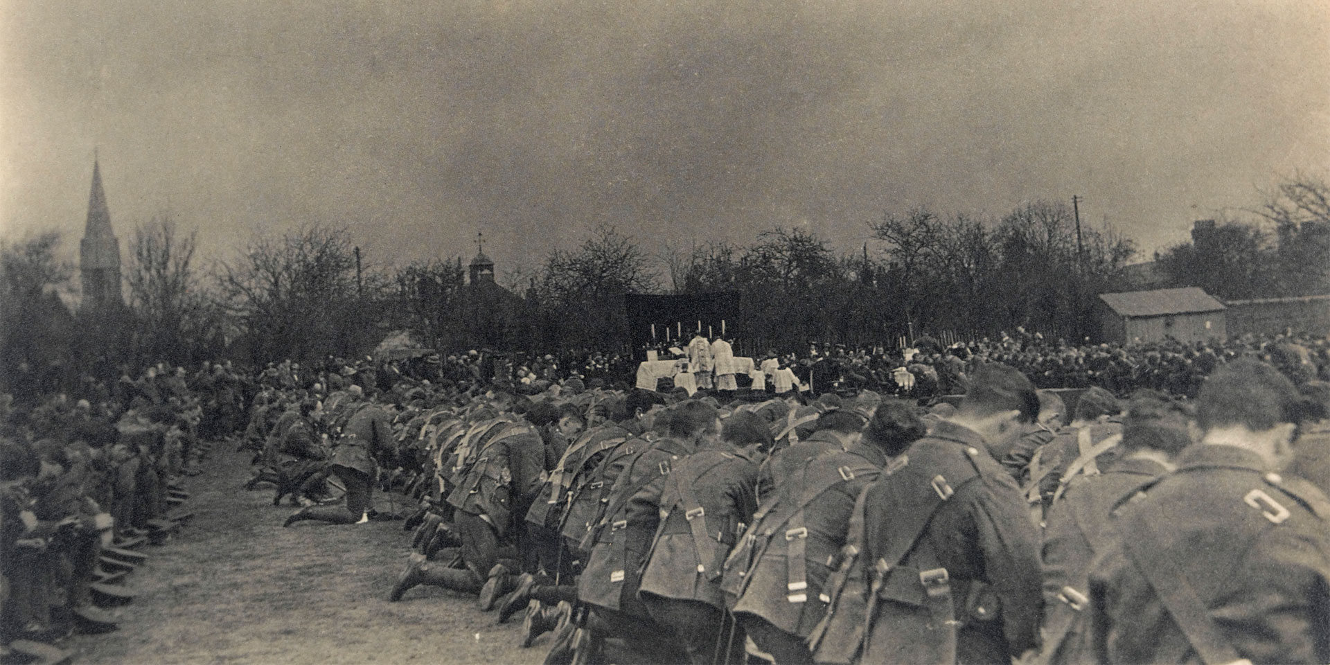 Soldiers kneeling at church parade, c1914