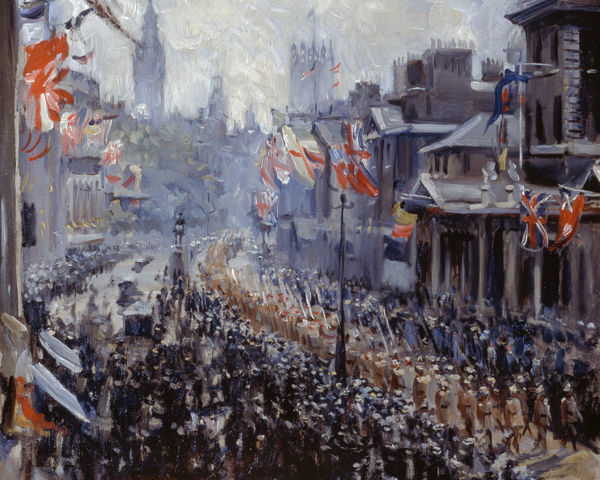 Indian troops marching down Whitehall, 19 July 1919
