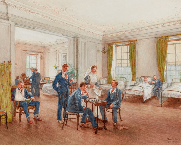 Convalescing soldiers playing chess in a ward at Sulhampstead House Hospital, Berkshire, 1918