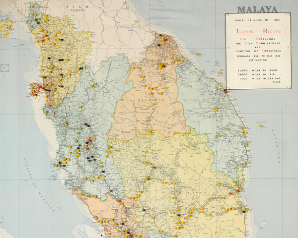 Map used by General Templer whilst High Commissioner and Director of Operations, 1952-54