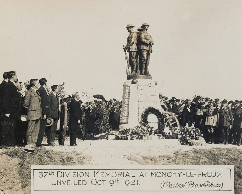 The unveiling of the 37th Division Memorial at Monchy-le-Preux, October 1921