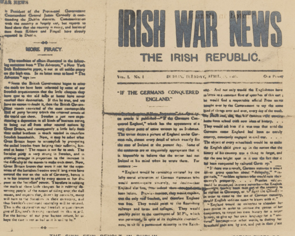 'Irish War News', a newspaper published by the rebels, 1916