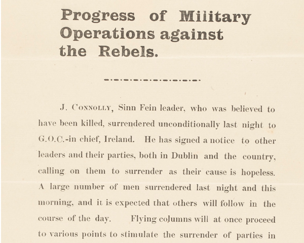 Proclamation announcing the surrender of James Connolly, 30 April 1916