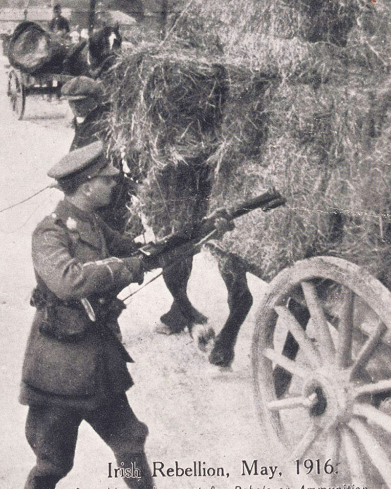 A British officer searching a hay cart, May 1916
