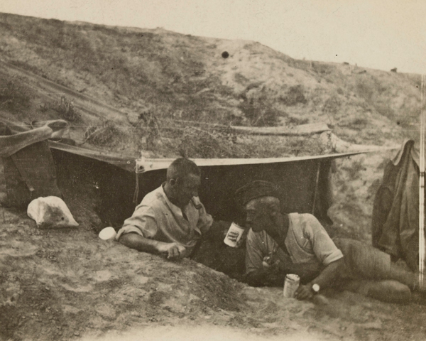 Shropshire Yeomanry in dugouts at Tel-el Jemmi on the Gaza front, 1917