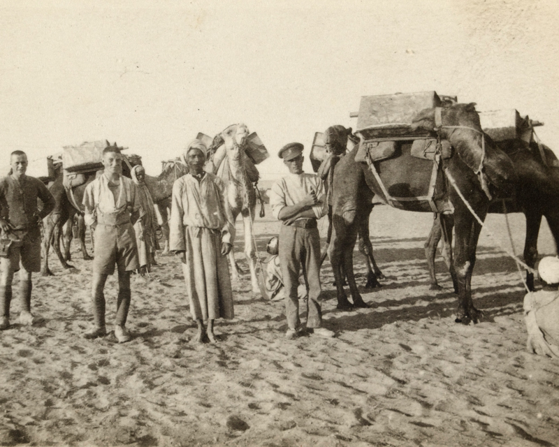 British soldiers with members of the Egyptian Camel Transport Corps, 1917