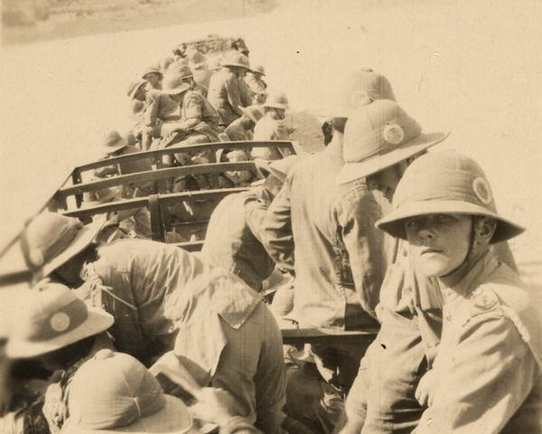 Troops crossing the desert by train, 1917