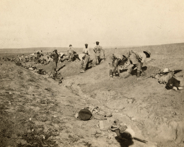 Digging dugouts in the Sinai desert, 1916