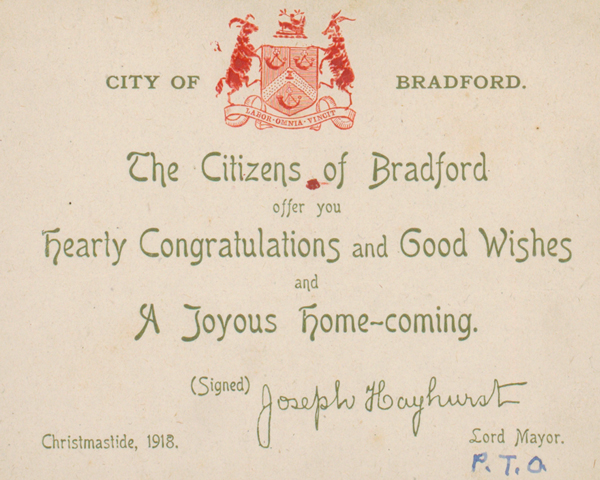 Welcome home message from the citizens of Bradford, Christmas 1918