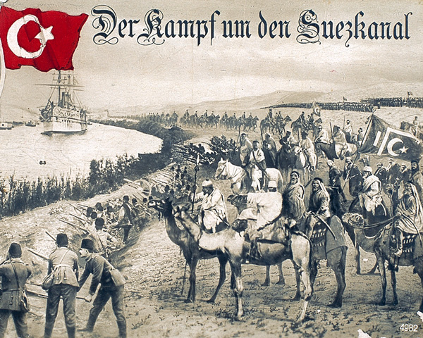 German propaganda postcard celebrating the Turkish raid on the Suez Canal, 1915
