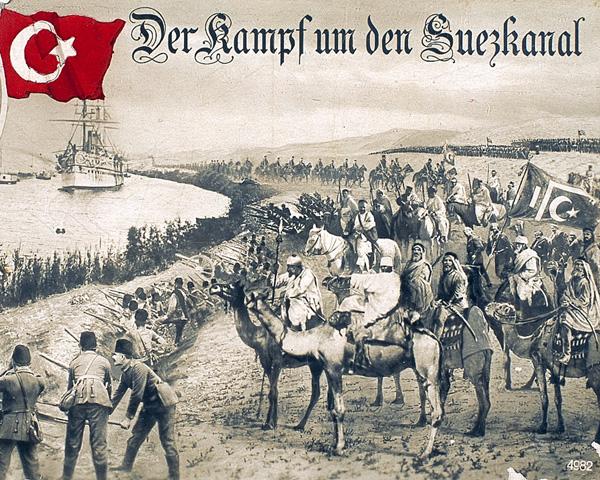 German propaganda postcard celebrating the Turkish raid on the Suez Canal, 1915