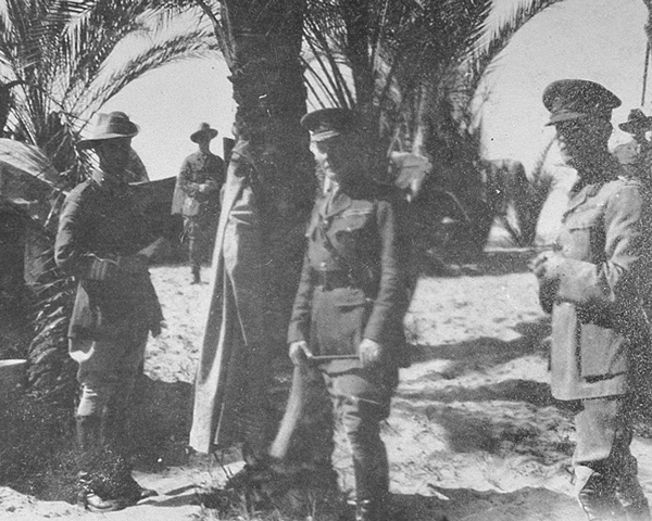 General Sir Archibald Murray (centre) with his staff in northern Sinai, 1916