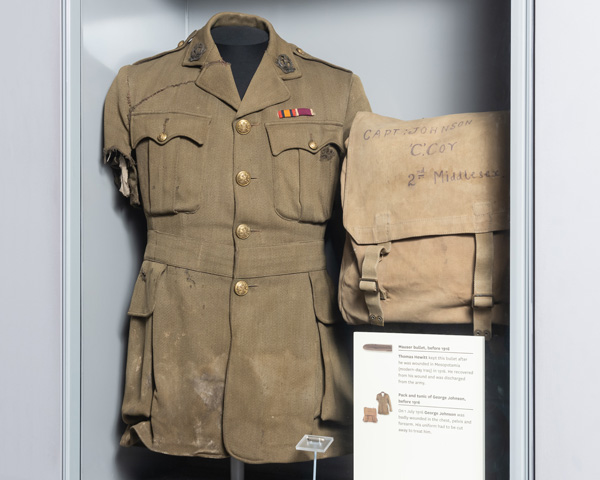 Tunic worn by George Johnson on the first day of the Somme