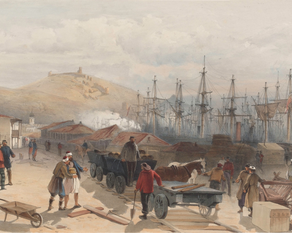 Moving supplies by train in the Crimea, 1855